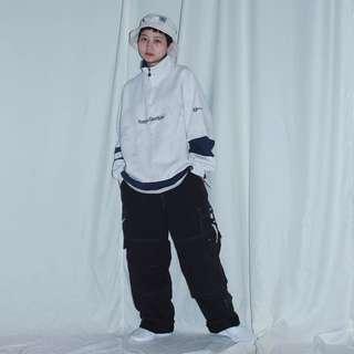 🚚 Sergio ✼淺米灰套頭Tee✼日本製 義大利品牌 棉質 Oversize 高領 拉鍊半開襟 長袖上衣 運動 日本古着