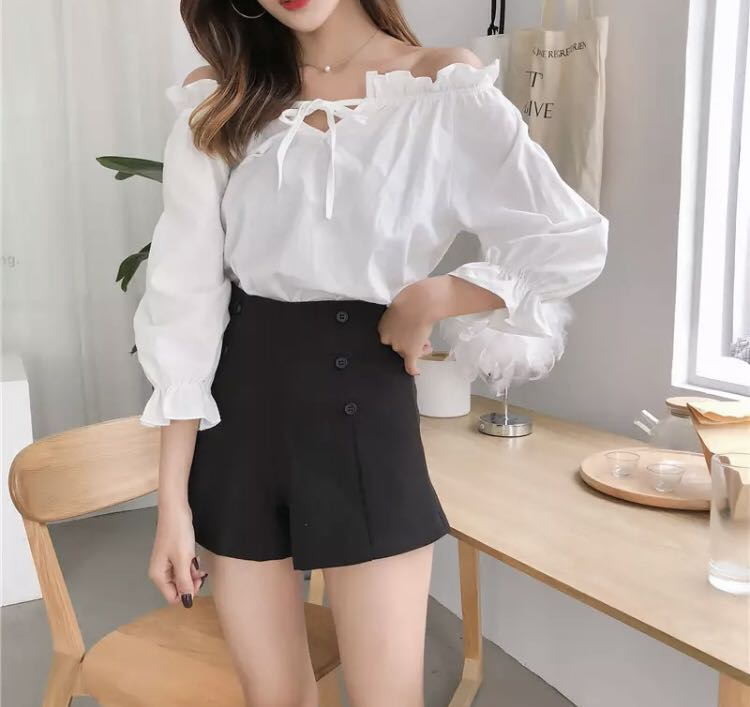 4c56ddee6db 748 tumblr basic peasant style tie up off shoulder long sleeve ...