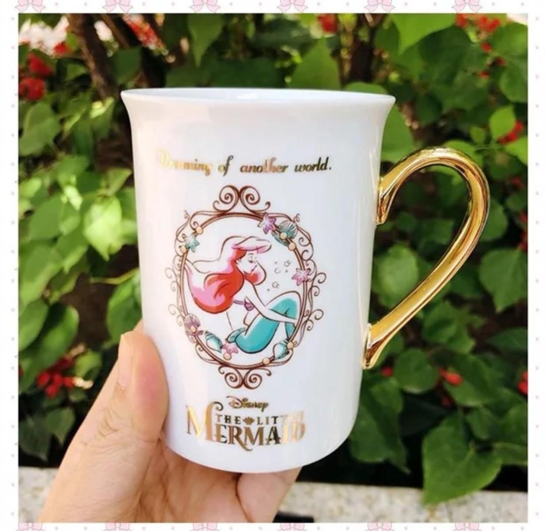 迪士尼公主優雅金邊手把瓷杯馬克杯/婚禮小物/辦公室用/禮盒裝