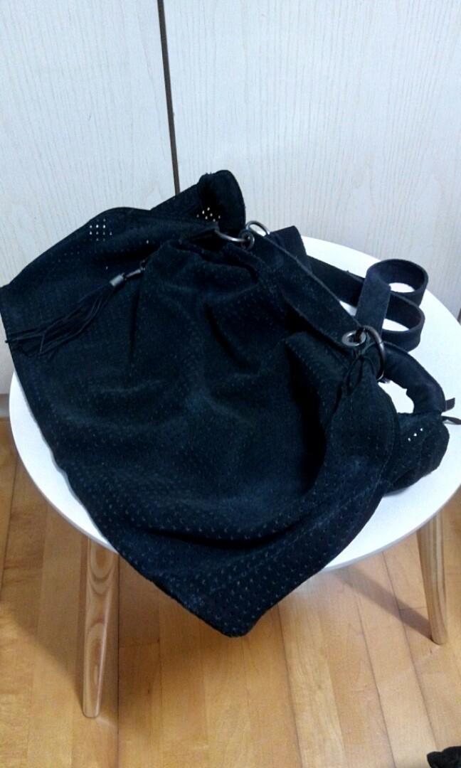 Zara suede handbag長短帶猄皮袋