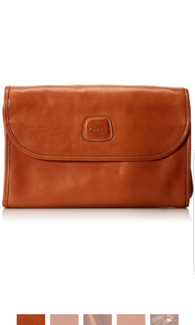 853689c942 Bric s Luggage Life Pelle Tri-Fold Traveler Cognac Brown Toiletries ...