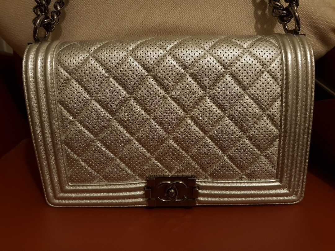 13770cb7a0cd Chanel Boy Perforated Flap Bag Silver in SHW
