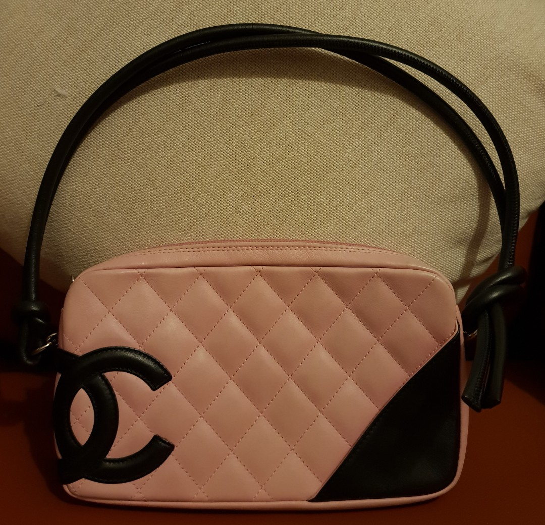52e518c8be3f0a Chanel Cambon Quilted Leather Ligne Pochette (Pink & Black), Luxury ...