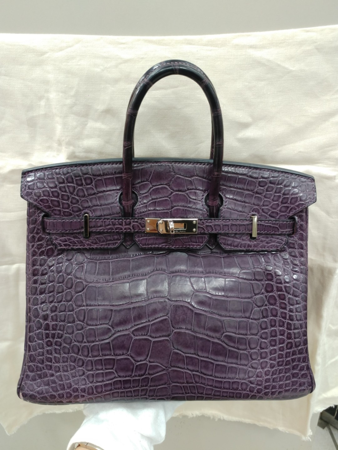 f6513b73a28 Hermes birkin 25 crocodile raisin, Luxury, Bags & Wallets on Carousell