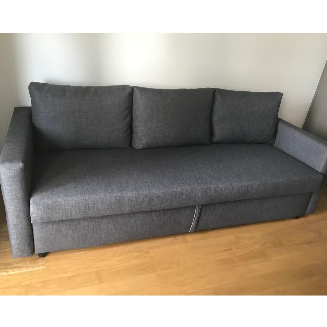 Ikea Sofa Bed Friheten Grey As New Full Sleeping Set