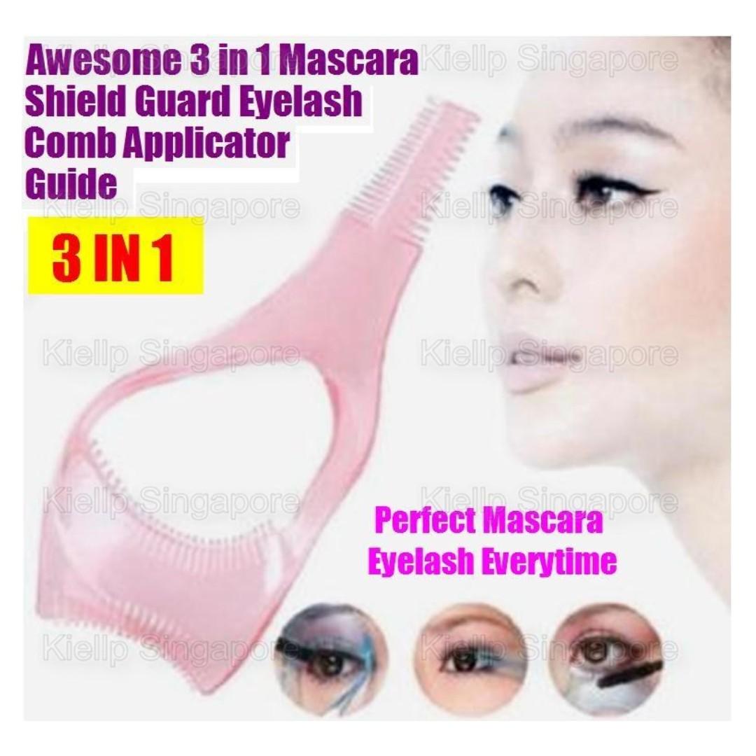 e6f17435d42 [Kiellp-女人我最大]3 in 1 Mascara Shield Application Guard Eyelash Comb  Applicator Guide Eyelash Curler Cosmetics Makeup Tool/Upper Lower Eyelid  Apron ...