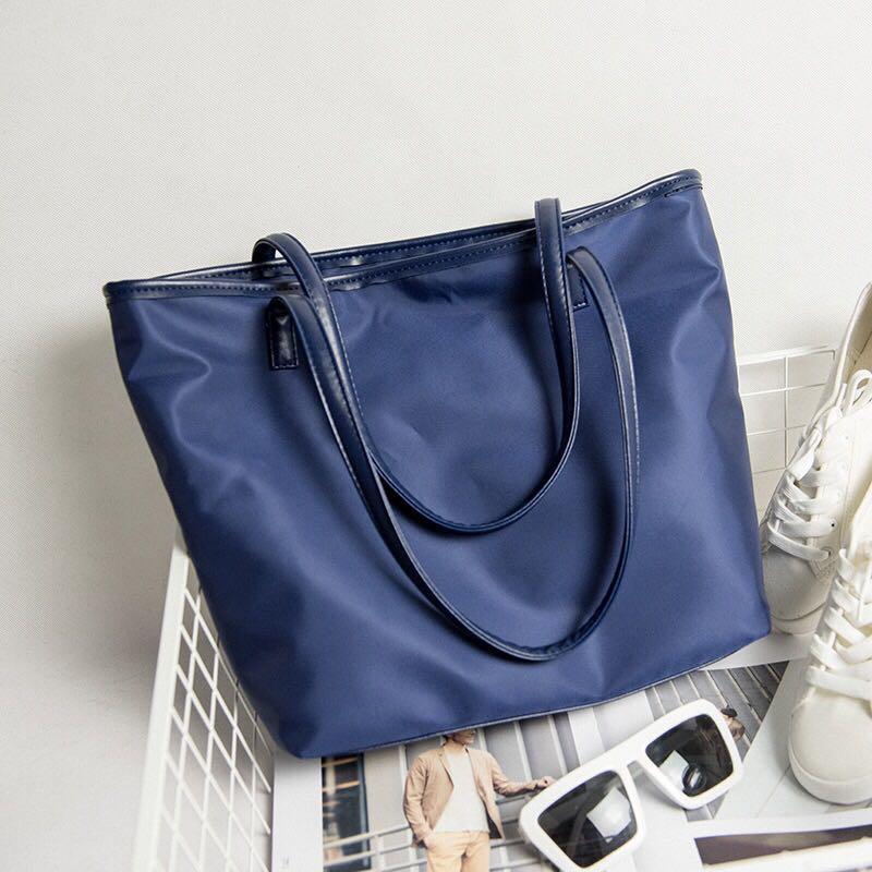 Navy Blue Nylon Bag tote leather Handbag big longchamp style large huge  women hand bag office ladies casual woman tote bag work spacious a580f64a10f90