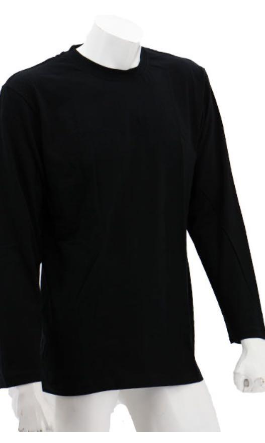 8811f1660038 Plain Black Long Sleeve Round Neck Shirt, Men's Fashion, Clothes ...