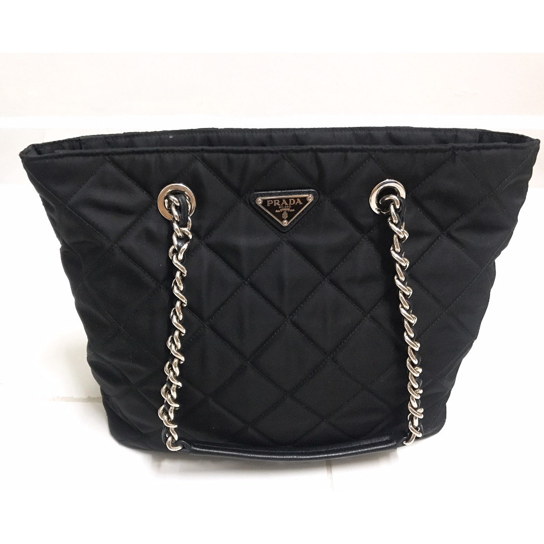 50bf2dd9a7e9eb Prada 1BG017 Quilted Tessuto Nylon Tote Bag with Chain Accents ...