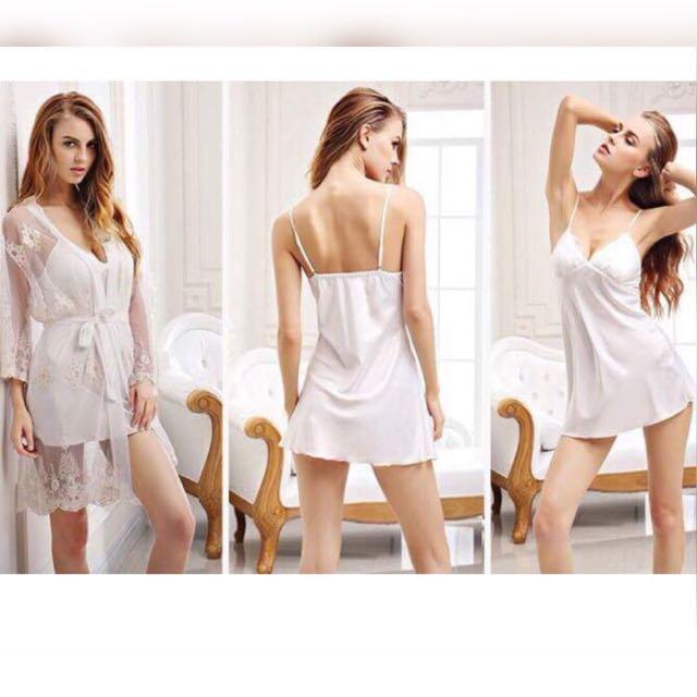 cf4d0274e2 R006-White sexy push up embroidered silk sexy sleepwear   sleepdress   sleep  dress   lingerie   pyjamas with robe