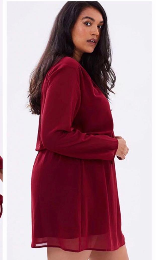 Red Chiffon Dress (Elastic Waist)