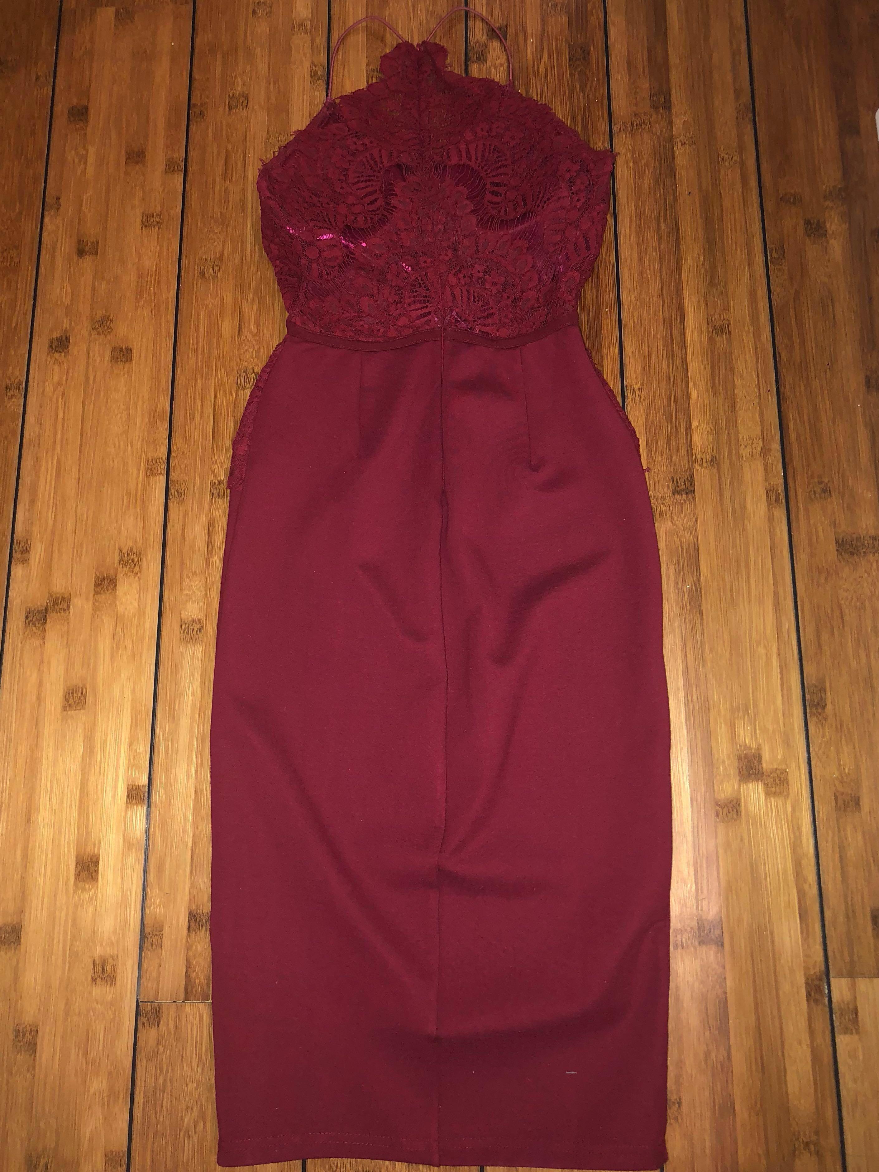 Red Wine Lace Midi Dress