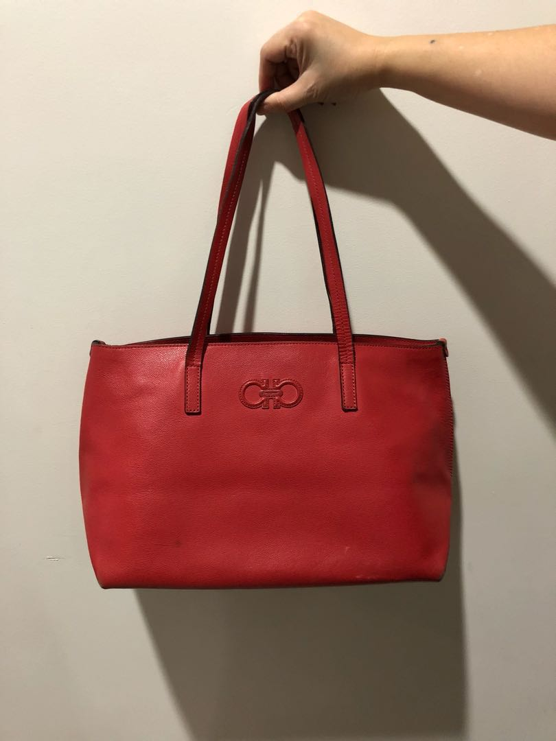 Salvatore Ferragamo Red Tote Bag ORIGINAL 4a127dec6b157