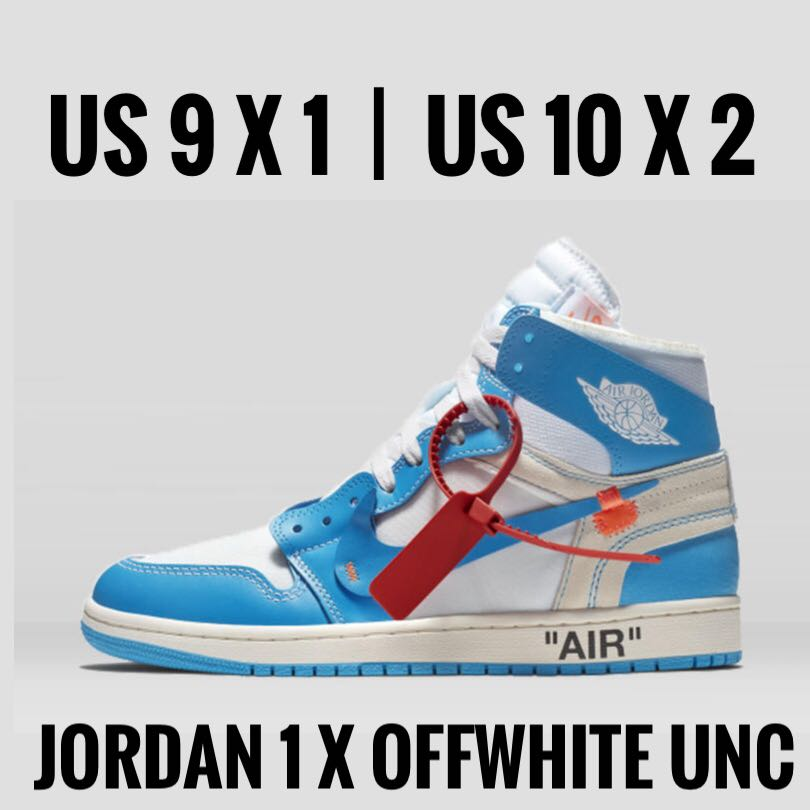 56b1c251e1c US9-10 Offwhite x Jordan 1 UNC, Men's Fashion, Footwear, Sneakers on ...