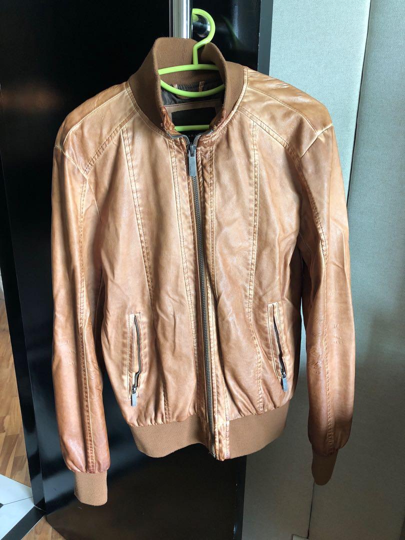 Zara Brown Leather Jacket Men S Fashion Clothes Outerwear On