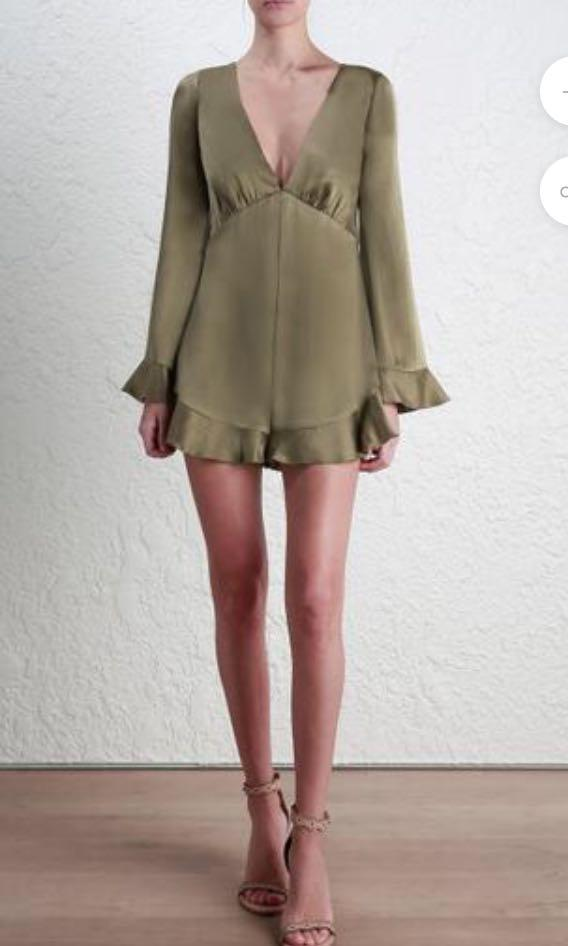 ZIMMERMAN Suede Tuck Playsuit (in olive)