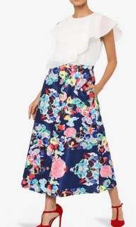 Mimpikita Poppy Print Skirt in Navy
