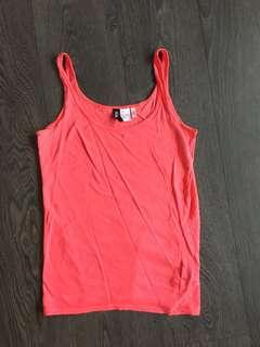 H&M coral tank top size 6 small
