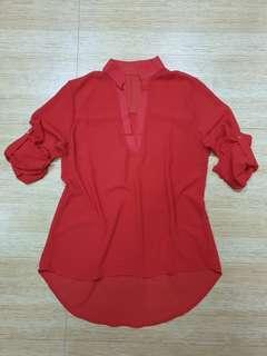 Red chiffon blouse top
