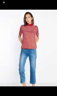 pomelo red striped mock neck top