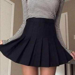 Black Pleated AA inspired Tennis Skirt
