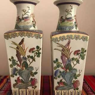A pair of floral vases