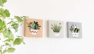 Deco: Handmade Plant-themed Felt Canvas (21cm sq)