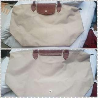 Longchamp le pliage cream short handle