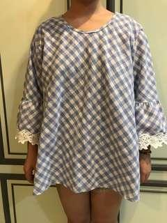 Blue white checkered top with laced sleeve