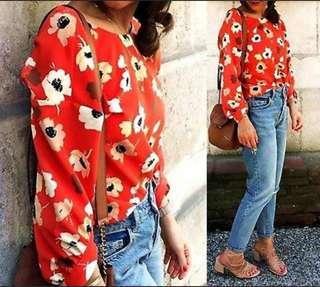 Blouse Zara Orange Flora