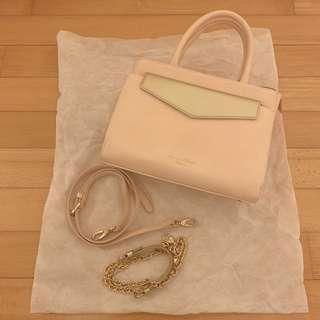 Samantha Thavasa Deluxe 日本限定 pink handbag with gold shoulder bag - two bags 粉紅色手袋連金色小包 可分折