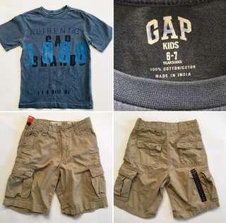 GAP Boys size 7 Cargo Shorts and T-Shirt New