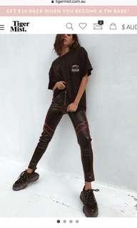 New leather pants tiger mist
