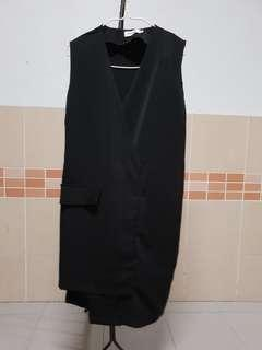 Black Dress asymmetrical minimal vest