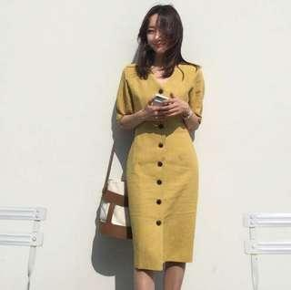 KOREAN LINEN SHIRT DRESS (MUSTARD)