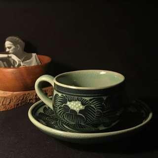 🚚 冰裂紋青釉陶瓷杯盤組 • 早期工藝 90年代vintage