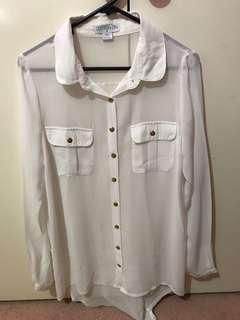 Cotton on white sheer blouse