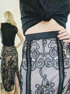 Alice McCall luxury embroidered lace full length skirt