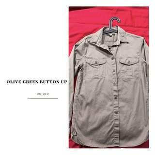 Olive green button up