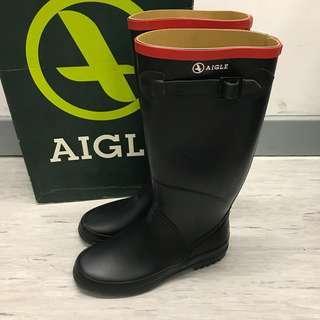 Aigle 深藍色x紅色邊百搭高筒長雨靴 鞋 明星鞋 not Hunter Rain Boots