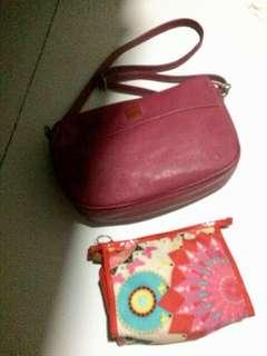 Sling bag secosana and pouch avon