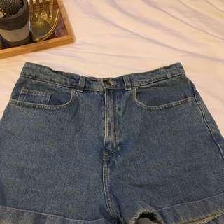 american apparel high waisted denim shorts, M-L
