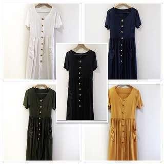Plus size stretchy cotton button down maxi / midi dress