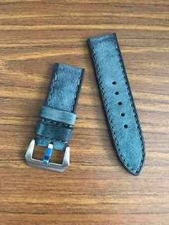 26mm/26mm Denim Blue Leather Watch Strap for Panerai Watch 🌟 handmade hand dyed handstiched