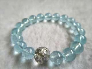 Topaz bracelet 9.4mm托帕石 + 12mm白水晶四神兽