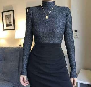 Acid Black Knitted Turtleneck Top