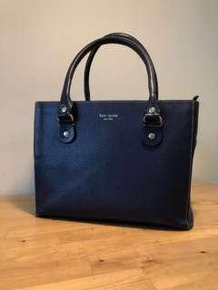 🚚 Kate Spade - leather hand bag navy