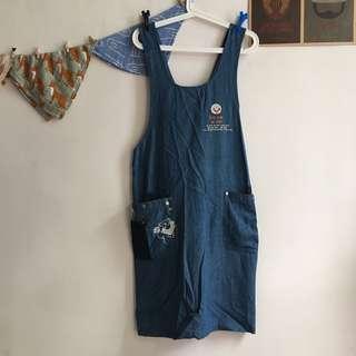 🚚 日本製 古著罕見扭結圍裙洋裝