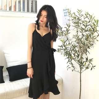 🚚 Black Ruffle Wrap Dress
