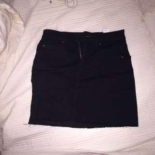 Garage black denim skirt